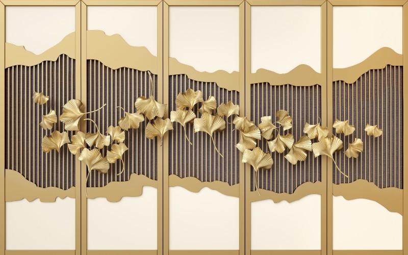 3D Фотообои 3D Фотообои «Стена с золотой декорацией»