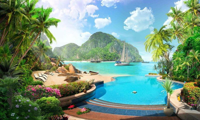 3D Фотообои «Курортный островок»