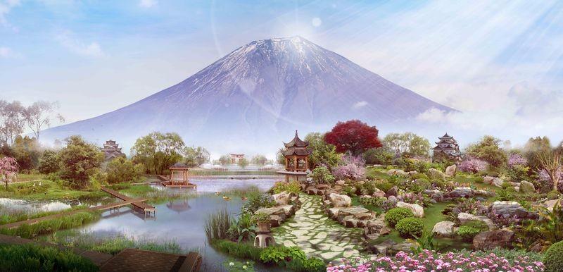 3D Фотообои 3D Фотообои «Японский сад с видом на Фудзияму»