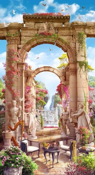 3D Фотообои «Античные арки со скульптурами»