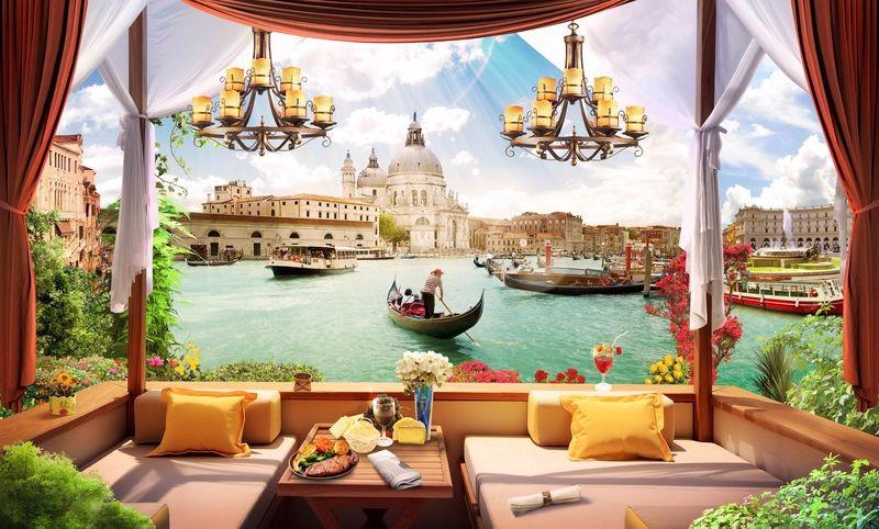 3D Фотообои «Кафе с видом на венецианский канал»