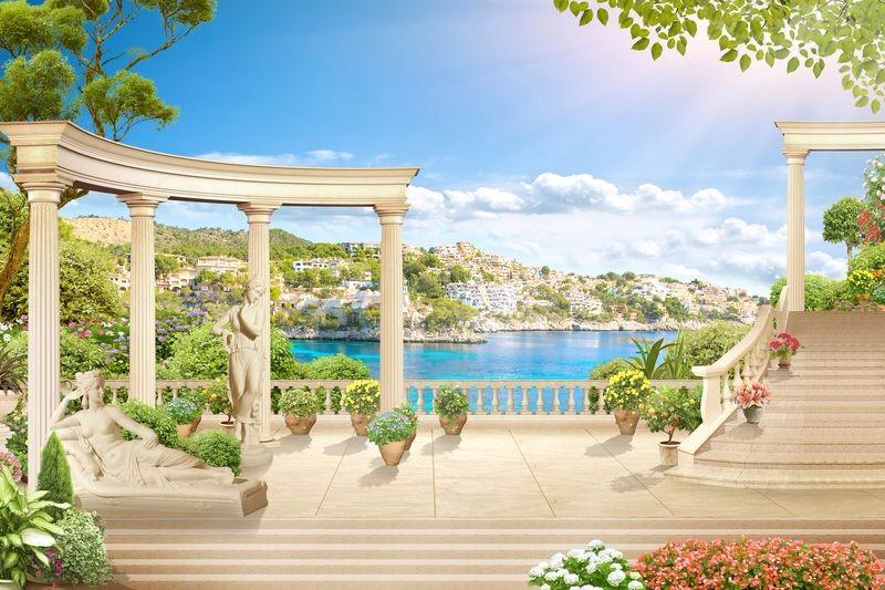 3D Фотообои «Античная терраса на Греческом побережье»