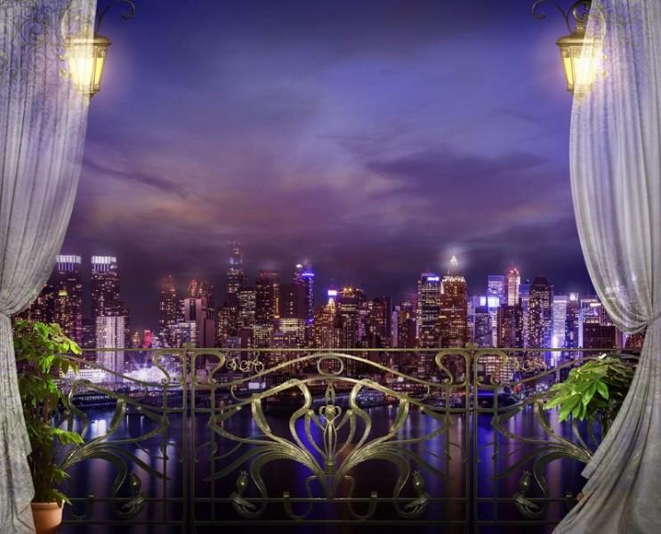 3D Фотообои «Балкон с видом на ночной город»