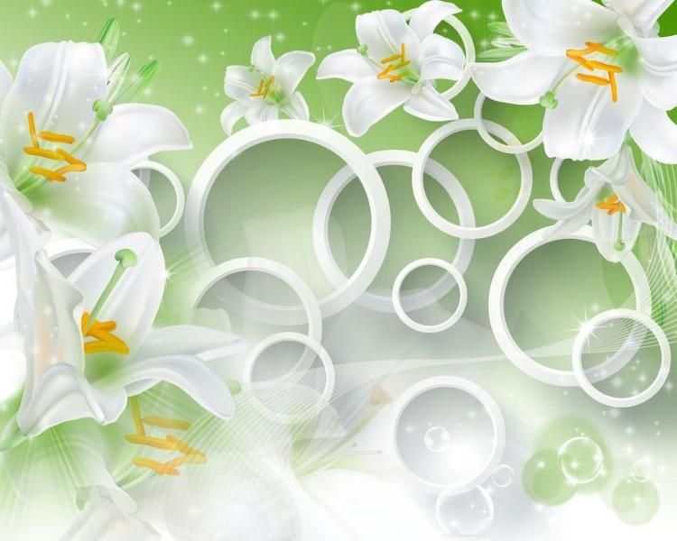 3D Фотообои «Белые лилии на салатовом фоне»
