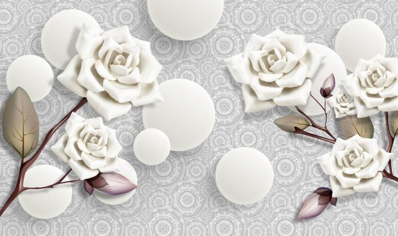 3D Фотообои 3D Фотообои «Керамические розы с парящими сферами»
