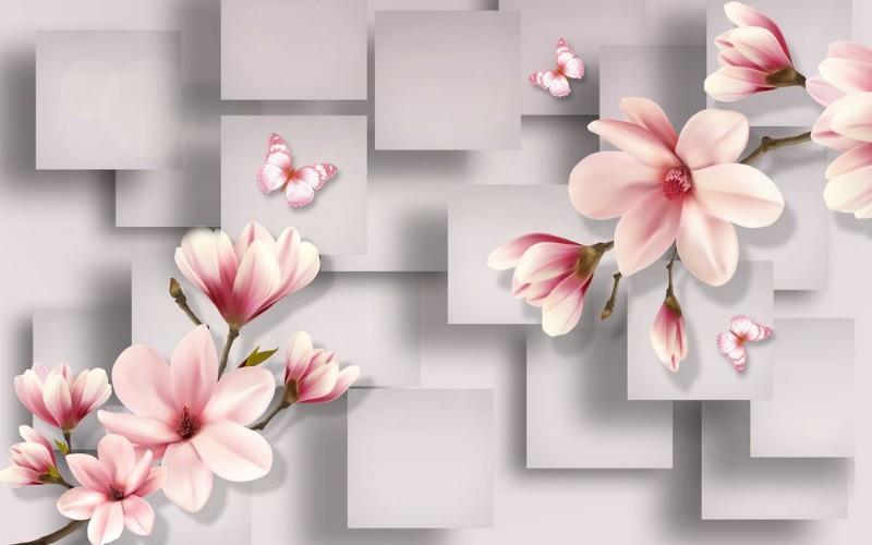 3D Фотообои 3D Фотообои «Розовые магнолии на сером фоне »