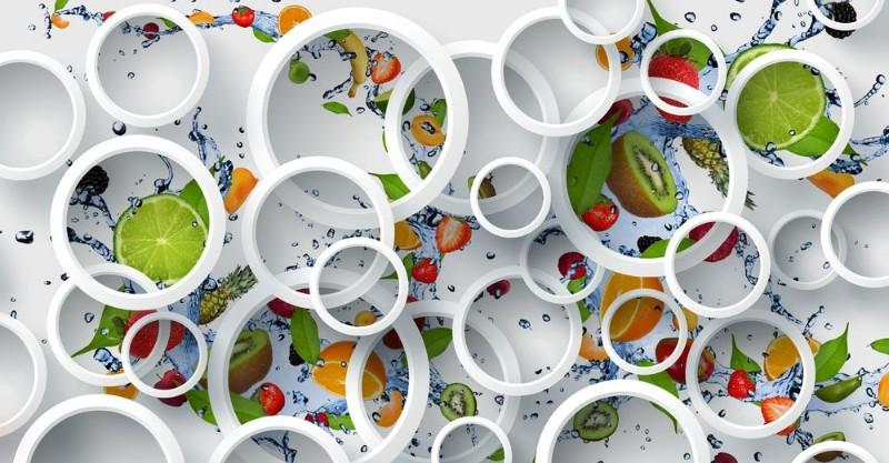 3D Фотообои «Фрукты с брызгами воды»