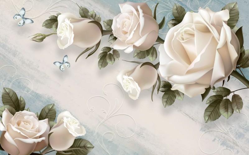 3D Фотообои 3D Фотообои «Винтажная композиция с розами»