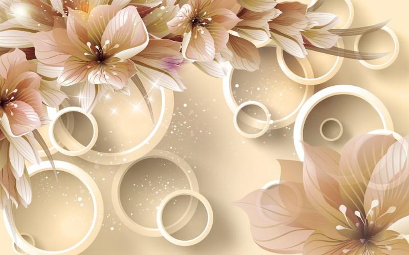 3D Фотообои «Волшебные цветы на бежевом фоне»