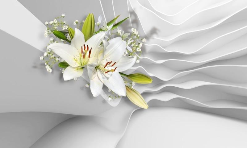 3D Фотообои «Лилии на объемном фоне»