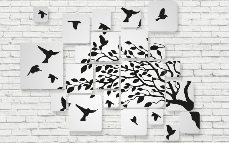 3D Фотообои 3D Фотообои «Птички на кирпичной стене»