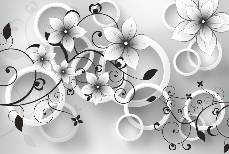 3D Фотообои 3D Фотообои «Серые цветы»