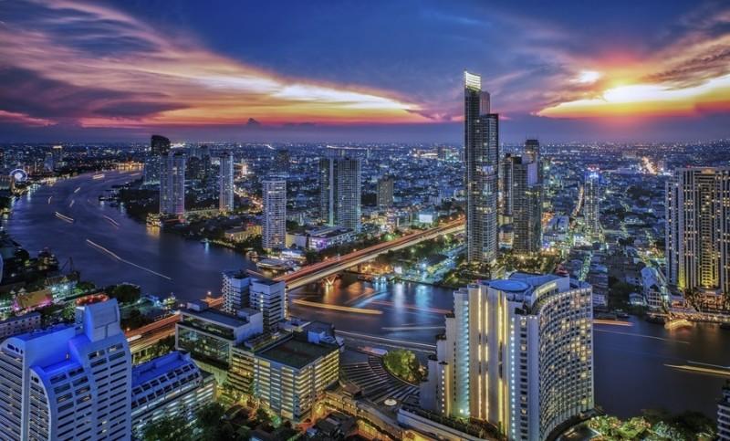 3D Фотообои «Рассвет над мегаполисом»