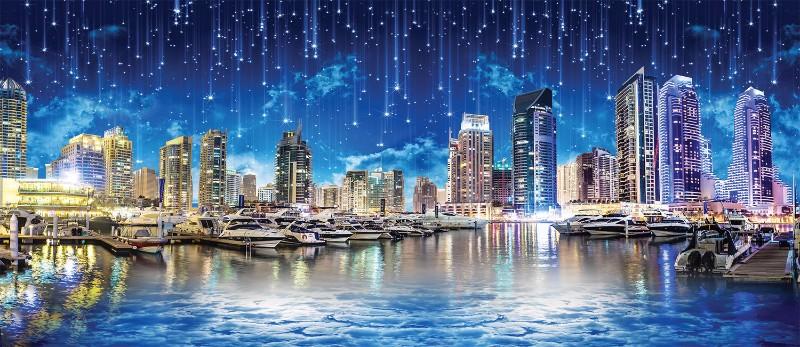 3D Фотообои 3D Фотообои «Звездопад над ночным городом»