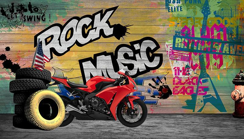 3D Фотообои 3D Фотообои «Красный мотоцикл в гараже»