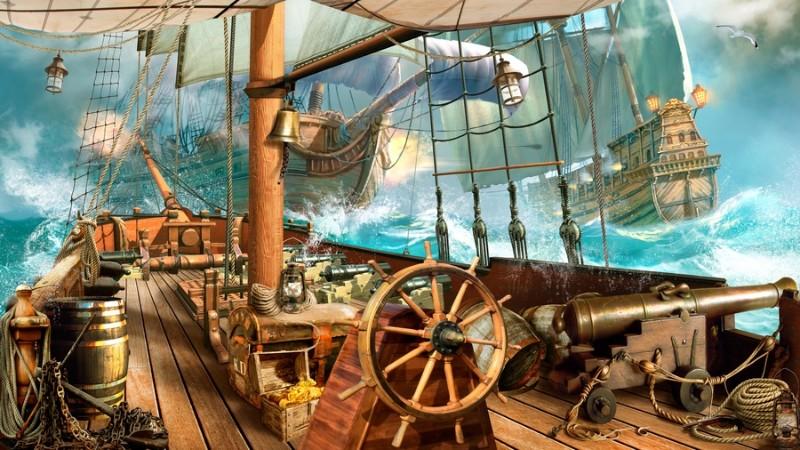 3D Фотообои 3D Фотообои «На борту пиратского корабля»