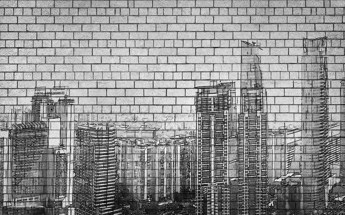 3D Фотообои 3D Фотообои «Мегаполис на кирпичах»