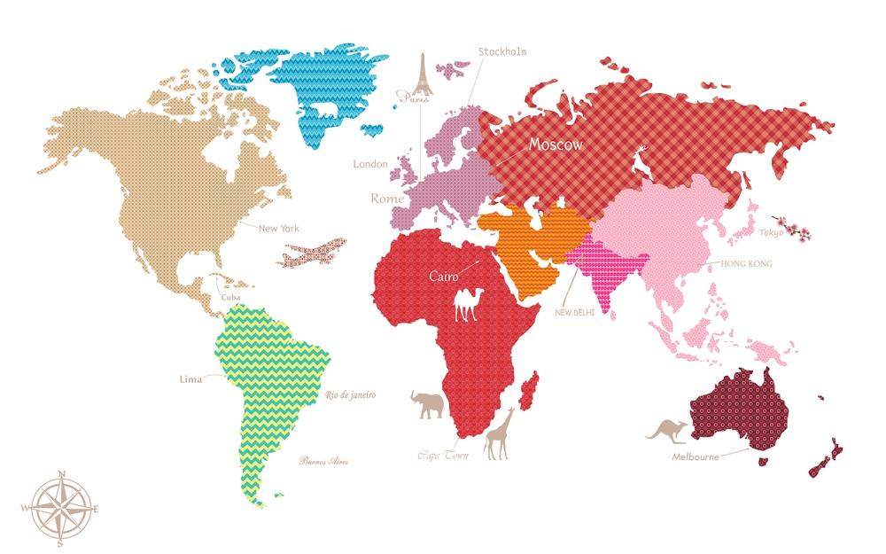 3D Фотообои «Карта континентов с узорами»