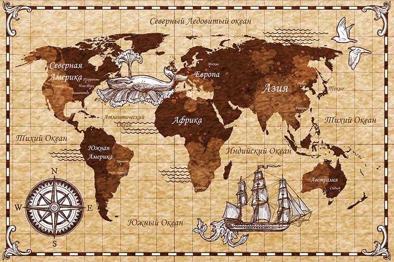 3D Фотообои «Декоративная карта мира»