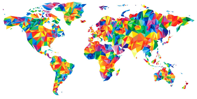 3D Фотообои 3D Фотообои «Полигональная карта мира»