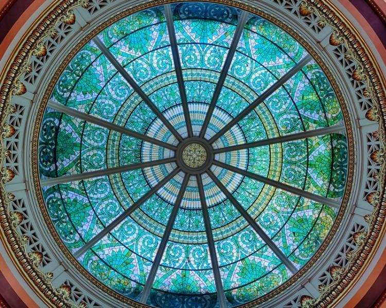 3D Фотообои «Витражный купол капитолия»