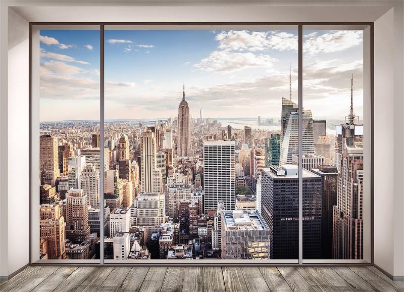 3D Фотообои «Большое окно с видом на мегаполис»