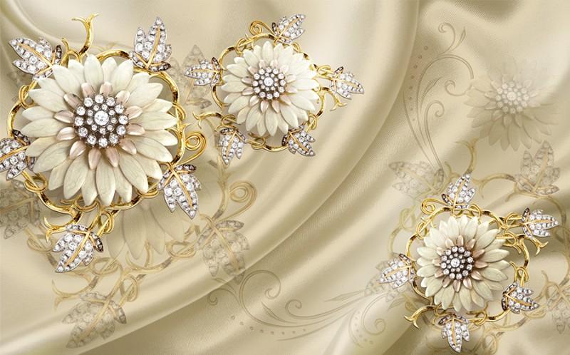 3D Фотообои 3D Фотообои «Драгоценные цветы на шелке»