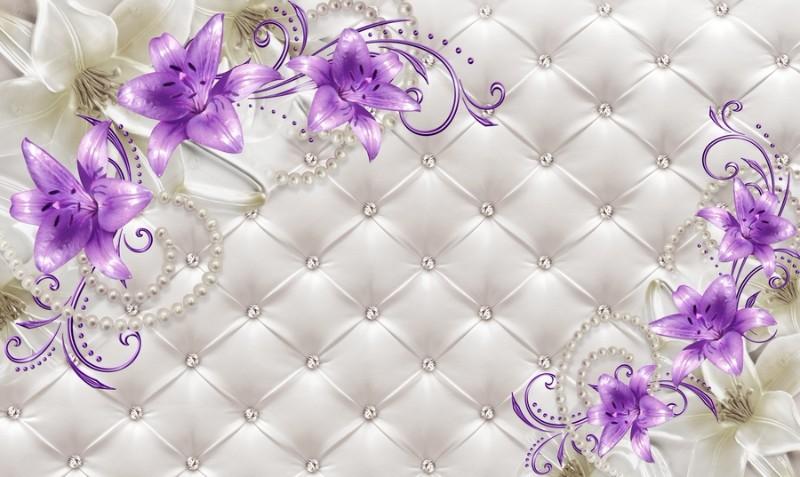 3D Фотообои 3D Фотообои «Сиреневые лилии на стеганой коже»