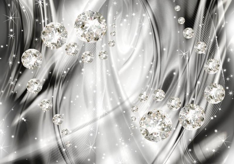 3D Фотообои 3D Фотообои «Бриллианты на серебристом фоне»