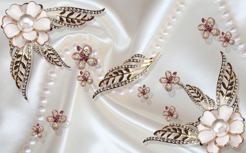 3D Фотообои 3D Фотообои «Ювелирные цветы на шелке»