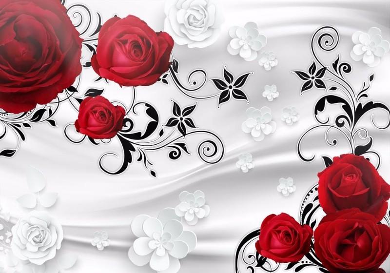 3D Фотообои 3D Фотообои «Алые розы на сером фоне»