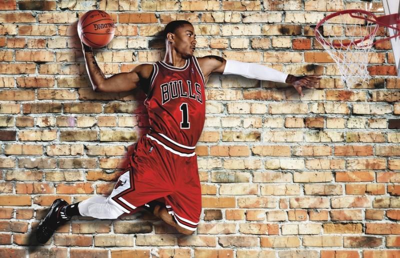 3D Фотообои «Баскетболист в прыжке»
