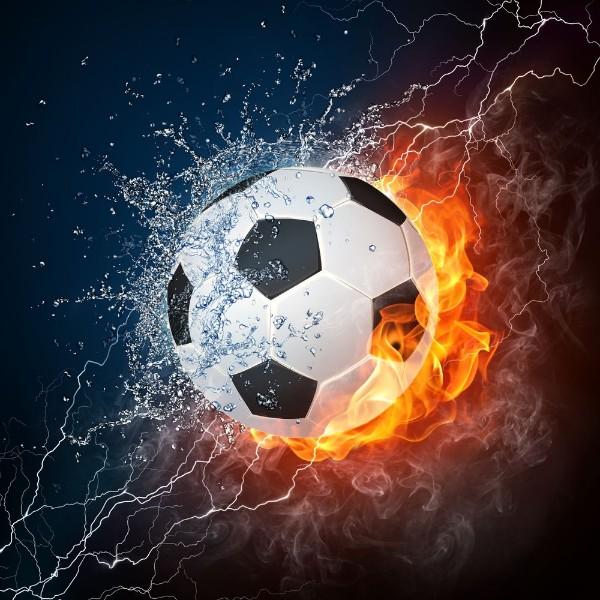 3D Фотообои 3D Фотообои «Огненный футбольный мяч»