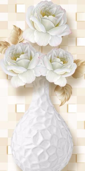 3D Фотообои 3D Фотообои «Ваза с белыми пионами»