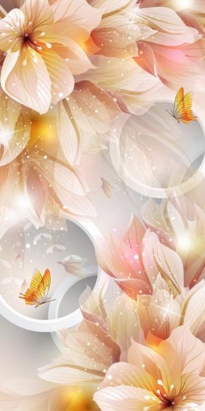 3D Фотообои «Волшебная композиция с цветами и бабочками»