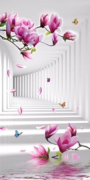 3D Фотообои 3D Фотообои «Цветы в тоннеле»