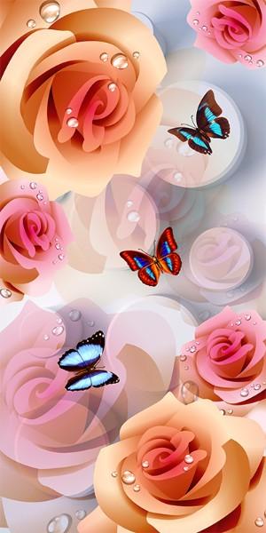 3D Фотообои 3D Фотообои «Бабочки на фоне роз»