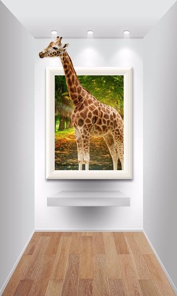 3D Фотообои 3D Фотообои «Жираф из картины»