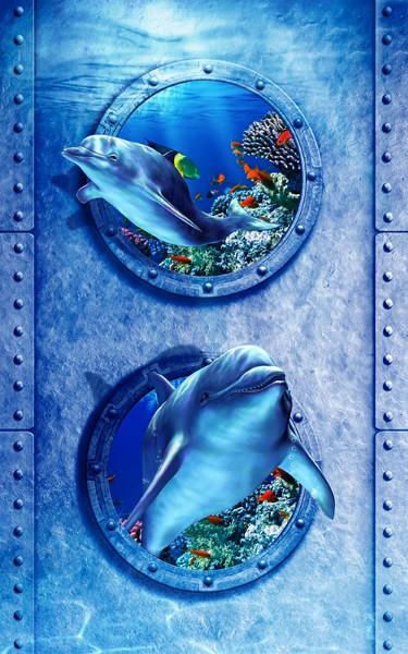 3D Фотообои «Иллюминаторы с дельфинами»