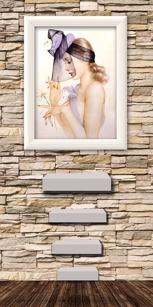 3D Фотообои 3D Фотообои «Картина с девушкой на каменной стене»