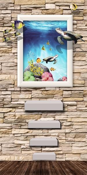 3D Фотообои «Море из картины»