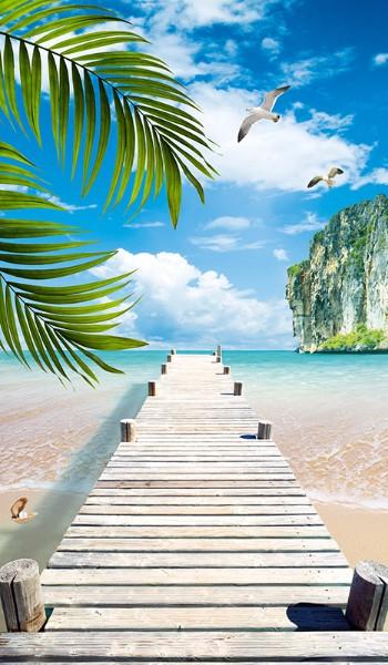 3D Фотообои 3D Фотообои «Причал на пляже»