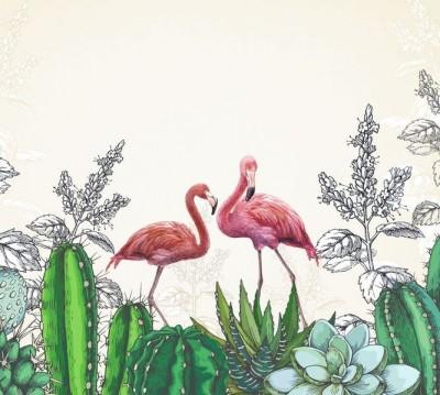 Шторы для ванной «Фламинго в кактусах»