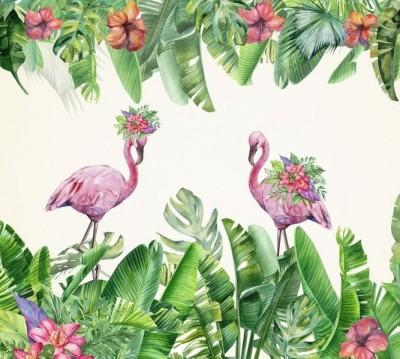 Шторы для ванной «Цветущие фламинго»
