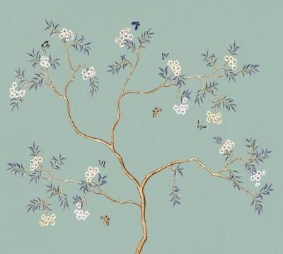 Шторы для ванной «Деревце с золотыми ветвями на бирюзовом»