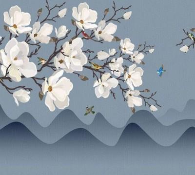 Шторы для ванной «Яблоневые ветви над холмами»
