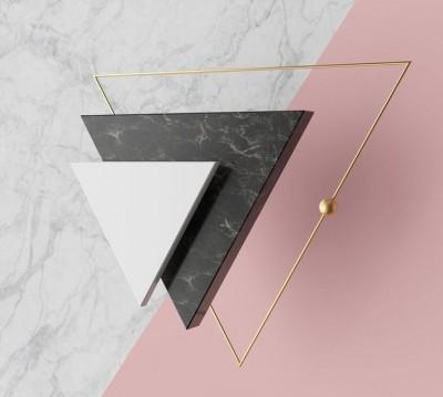 Шторы для ванной «Объемные мраморные треугольники»