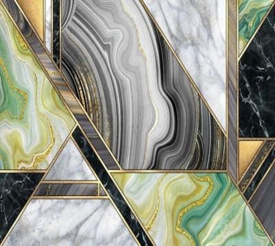 Шторы для ванной «Мраморная композиция с хризолитом»