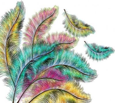 Шторы для ванной «Радужные перья»