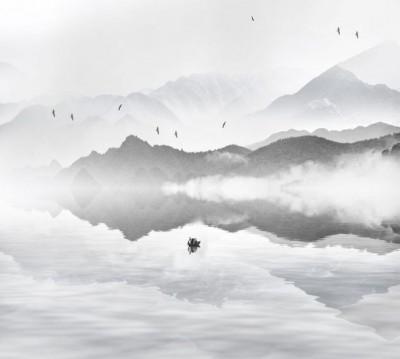 Шторы для ванной «Одинокая лодка в тумане»